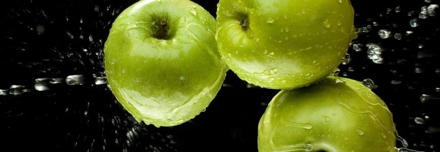 Green apples with water
